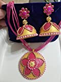 Paper earrings - Bridal jhumkas with matching pendant