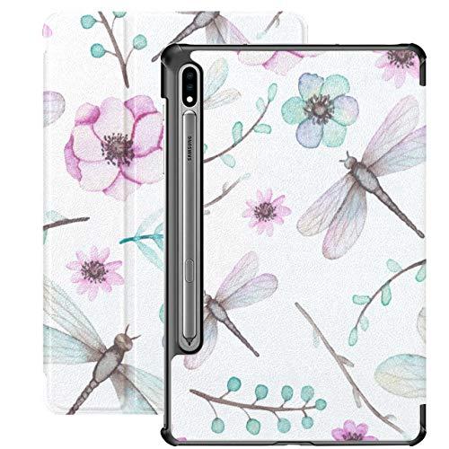 Dragonflies and Rose Light Blue Leaves Funda para Samsung Galaxy Tab S7 Book Cover para Samsung Galaxy Tab S7 / s7 Plus Funda para Tableta Samsung Funda Trasera para Soporte Samsun