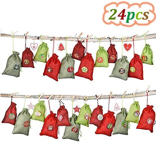 WENTS Calendario dell'Avvento da riempire, 24 sacchettini in Tessuto, Set da Appendere, Sacchetto di Stoffa sacchettino, Base con 1 – 24 Numeri per DIY Deco Calendario di Natale