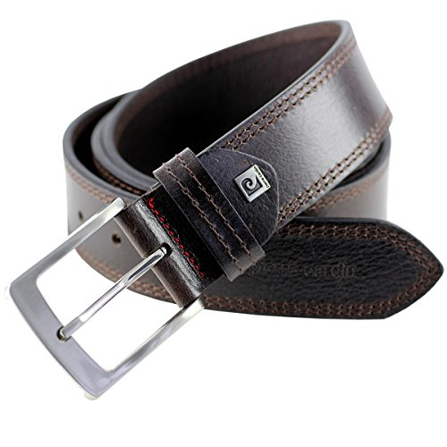 Mens leather belt / Mens belt Pierre Cardin, XXL, dark brown, 70011, Size:100