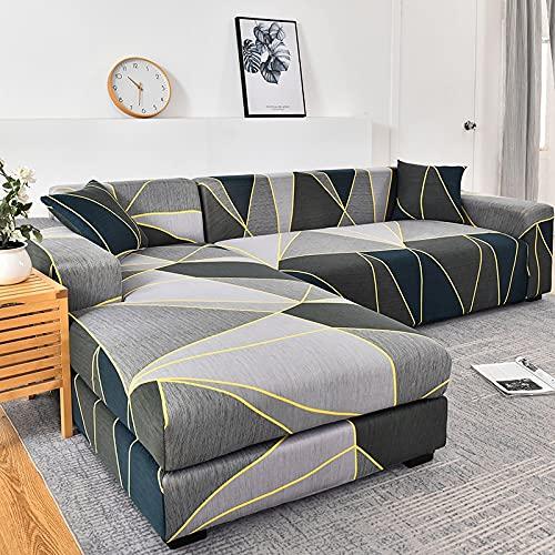 WXQY Funda de sofá elástica geométrica para Sala de Estar, Funda de sofá en Forma de L Necesita Pedir 2 Juegos, Funda de sofá Todo Incluido A14 4 plazas
