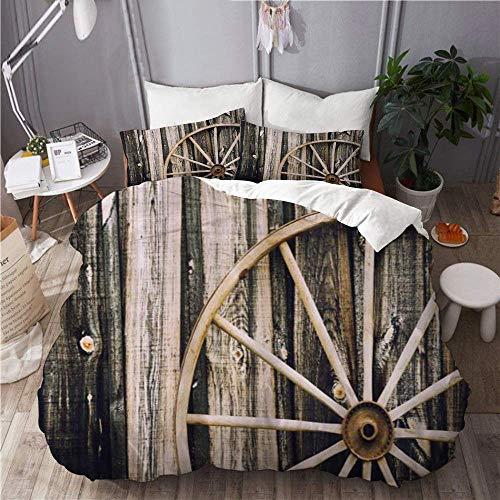 Juego de funda nórdica para ropa de cama, juego de 3 fundas de edredón con 2 fundas de almohada, vagón de madera, puerta de granero de madera y granja rústica de rueda oxidada vintage, edredón de micr