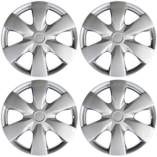15 inch Hubcaps Best for 2004-2020 Toyota Yaris - (Set of 4) Wheel Covers 15in Hub Caps Silver Rim Cover - Car Accessories for 15 inch Wheels - Snap On Hubcap, Auto Tire Replacement Exterior Cap