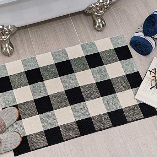 Sierra Concepts Fußmatte, 88,9 x 61 cm, Baumwolle, Schwarz/Weiß, für drinnen und draußen, für Veranda, Bauernhof, kariert, gewebt, für Boden, Wäsche, Küche, Bad, 2 Stück