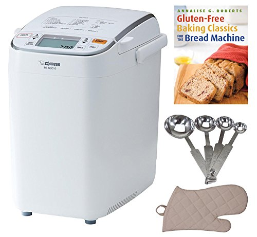 Zojirushi BB-SSC10 Home Bakery Maestro Breadmaker, Premium White Includes Gluten-Free Bread Making Book, Measuring Spoon Set and Oven Mitt