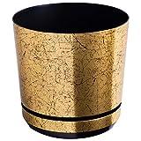 KORAD Blumentopf mit Drainagelöchern Altgold 26 cm - Pflanzkübel aus Hochwertiger Kunststoff - Dekorativer Gold Topf für Pflanzen