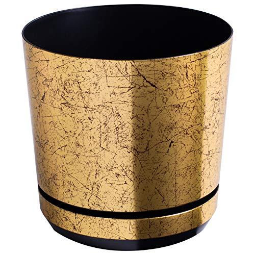 Korad OLD GOLD flower indoor plant pot with saucer plastic gloss modern decorative planter with drainage holes (14 cm - 5.5 inch)