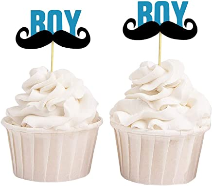 Darling Souvenir Baby Shower Its a Boy Moustache Cupcake Toppers, Gender Reveal Party Dessert Decorations - Pack of 40