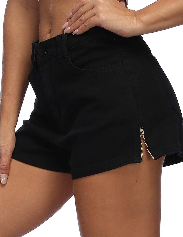 Hioinieiy Women's High Waisted Wash Jean Shorts Butt Lifting Zipper Sides Denim Pants