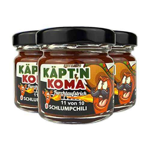 Schlump-Chili Käpt'n Koma Dreierpack Set Schärfste Chili Paste mit Carolina Reaper und Ingwer ULTRA SCHARF! (3 x 35g)