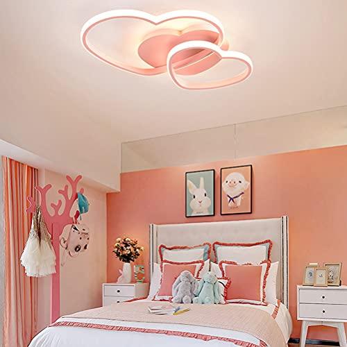 Lámpara LED de techo para dormitorio, lámpara de techo para niñas, lámpara de techo con en forma de corazón con mando a distancia, diseño moderno, para comedor, balcón, cocina, lámpara colgante de 42W