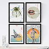 Nacnic Set de 4 láminas de Posters Collage,en tamaño A4, Poster Papel 250 gr Marco