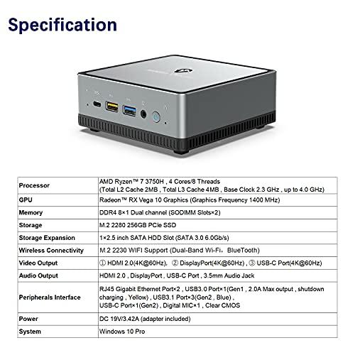Mini PC AMD Ryzen 7 3750H UM700   8 GB RAM 256 GB PCIe SSD   Radeon RX Vega 10 Graphics   Windows 10 Pro   Intel Dual WiFi BT 5.1   HDMI 2.0 / Display/USB-C   2X RJ45   4X USB Small Form Factor