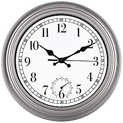 12 Inch Classic Indoor/Outdoor Waterproof Wall Clock with Thermometer,Silent Quartz Decorative Clock Non-Tickin,Battery Operated Movement Clock for Home/Office/Kitchen/Bedroom/Living Room,Tin