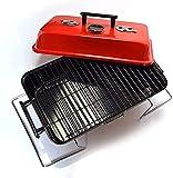 Parrilla de carbón portátil para ahumar, para el hogar, pequeño y práctico estante de barbacoa portátil, barbacoa para camping, portón trasero y viajes (color rojo)