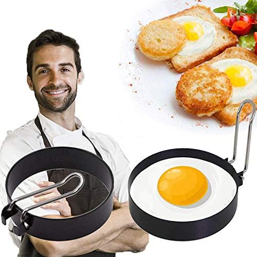Egg Ring Set For Shaping Eggs, Egg Cooker Rings For Cooking, Stainless Steel Non Stick Mold Shaper Circles, Round Egg Ring Mold For Fried Egg, Pancakes,Sandwiches- Egg Maker Molds