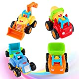 FancyWhoop 4 Piezas Vehículos de Construcción Coche de Juguete Friccion Camion de Juguete de...