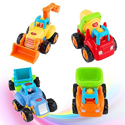 FancyWhoop 4 Piezas Vehículos de Construcción Coche de Juguete Friccion Camion de...