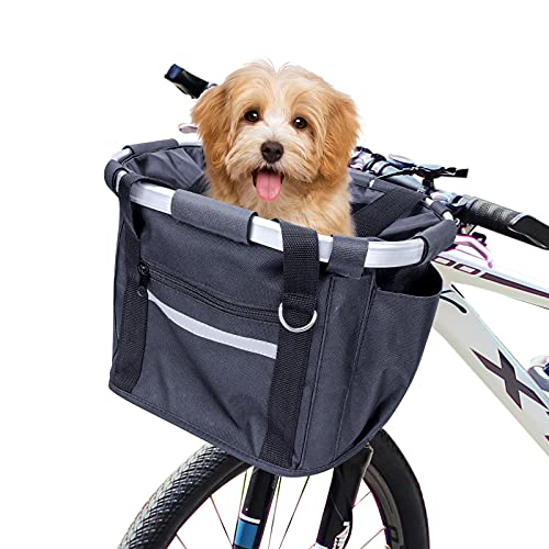 Cesta para bicicletas, frontal plegable Cestas para bicicletas para mascotas Marco desmontable...
