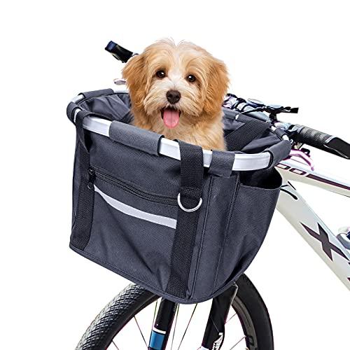 Cestino per Bici, Anteriore Pieghevole Cestini da Ciclismo per Animali Domestici Telaio Staccabile in Lega di Alluminio Cestino in Tessuto Oxford per Cani e Gatti di Piccola Taglia Borsa portaoggetti
