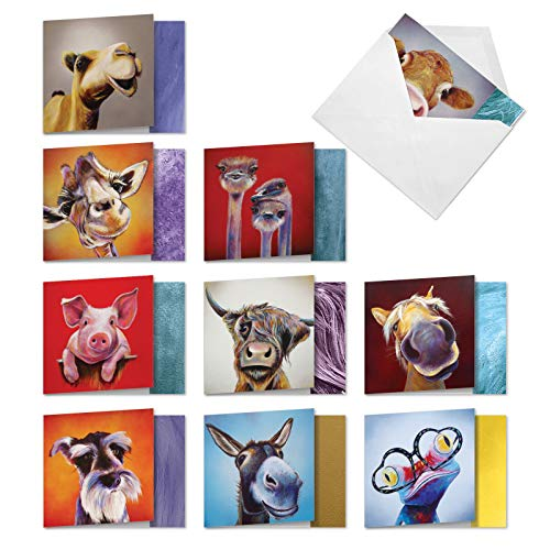 The Best Card Company - 10 Blank Greeting Cards with Animals (4 x 5.12 Inch) - Assorted Pets, Wildlife Kid Cards - Animal Magnetism AMQ6218OCB-B1x10