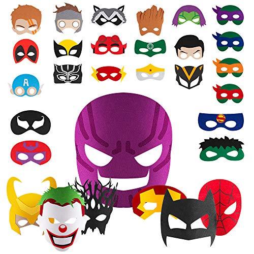 ZIIDOO Superhelden Masken,30 Stücke Filz Masken Superhero Cosplay Party Masken für Erwachsene und Kinder Party Maskerade Multicolor