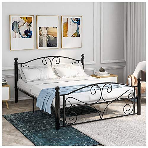 Doppelbettgestell, Metall, schwarz, Bettgestell mit Kopfteil, Fußteil mit Rahmen,...