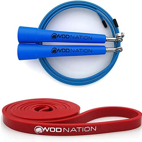 Blue Speed Jump Rope 1 2 Red Resistance Band 10 to 35 Pounds of Resistance product image
