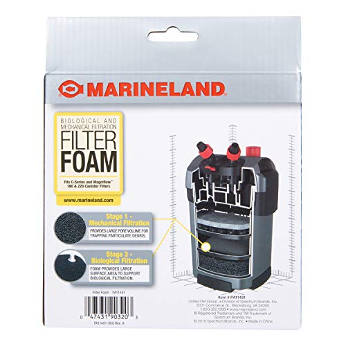 Marineland Filter Foam 2 Count, Supports Biological And Mechanical aquarium Filtration, Rite-Size S