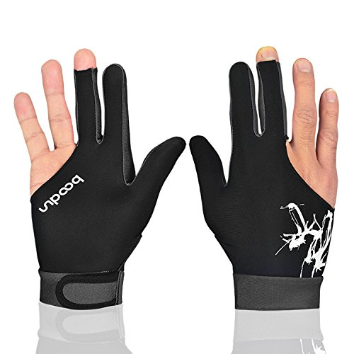 Elastische 3-Finger-Handschuhe für Billard-Shooter, Carom, Pool, Snooker, Queue, Sport, rechts oder links (schwarz grau, L)