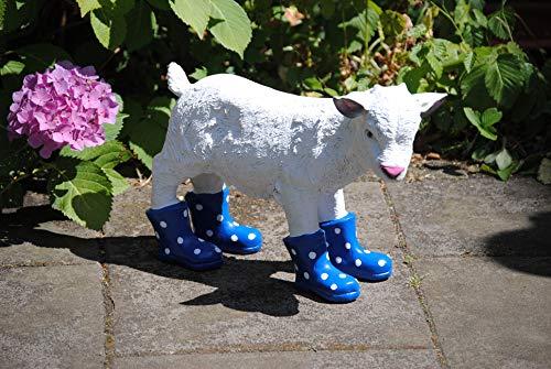 Deko Shop Cologne Figur Ziege mit Stiefel Blau Ziegenbaby Schaf Garten Bauernhof Hofladen Zicklein Lamm Natur