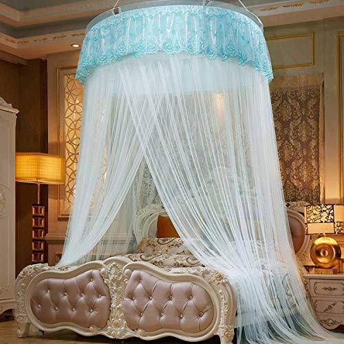 ETJar Grand lit double Dôme moustiquaire Rideau Princesse Lit à baldaquin Literie Tente ronde en dentelle pour les filles Chambre d'intérieur Kid, Jaune,Bleu