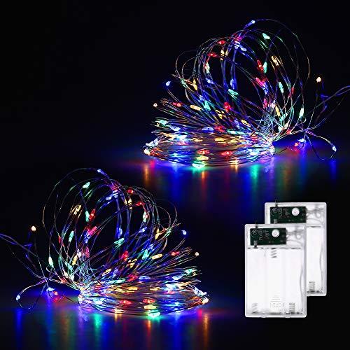 Fulighture Lichterkette,10M Lichterkette Batterie mit 100 LEDs, Batteriebetrieben, Silberne Lichterkette für Zimmer,Kinderzimmer,Weihnachten,Party,Hochzeit,DIY,Innen und Außen,Bunt,2 Pack