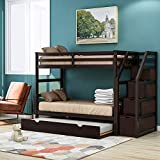 Trundle Bunk Beds, Rockjame Solid Wood Twin Over Twin Bunk Bed with Stairs, Storage and Safety Guard Rail for Boys, Girls, Kids, Teens and Adults (Espresso)