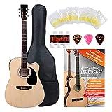 Classic Cantabile guitare acoustique folk set démarrage incl. kit d'accessoires à 5 pièces, naturel