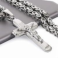 ゴシックバイブルクロス十字架イエスペンダントネックレスステンレススチールビザンチンリンクチェーンネックレス男性用男の子祈りジュエリー60cm