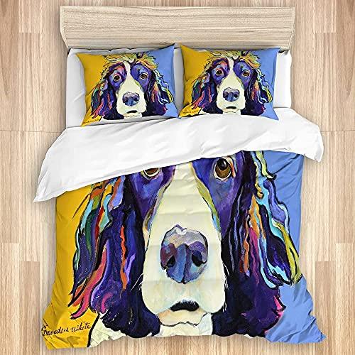 KOSALAER Funda de edredón, diseño de animales de perro y retrato de ojos tristes ingleses Springer Forlorn, funda de edredón de microfibra suave de lujo con cierre de cremallera