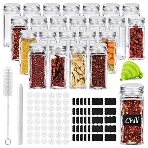 Piglagogo Gewürzgläser Set mit Deckel - 24 Gewürzstreuer - 120 ml Eckig Gewürzbehälter aus Glas zum Aufbewahren von Gewürzen