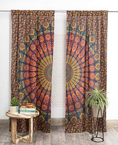 Popular Handicrafts Indian Hippie Bohemian Beautiful Peacock Mandala Curtain Panels Neavy Blue Multi Color