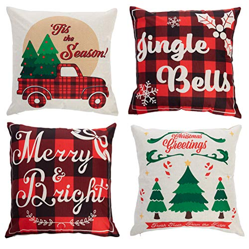 JOYIN Christmas Mixed Buffalo Plaid Farmhouse Pillow Covers (4 Pack), 18x18 Inch Christmas Throw Pillow Cases, Cushion Cases for Sofa, Couch, Bedroom Christmas Winter Holiday Decoration