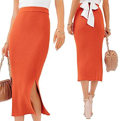 Nokiwiqis Falda de longitud completa para mujer, falda de punto acanalada elástica lisa dividida de longitud media falda de cintura alta lápiz a media pantorrilla