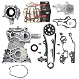 NEW HD Timing Chain Kit (2 Heavy Duty Metal Guides & Bolts) with Timing Cover, Water Pump, & Oil Pump compatible with 85-95 Toyota 2.4L 4Runner Pickup Celica SOHC engine 22R 22RE 22REC