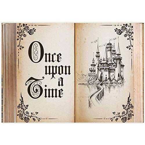 Allenjoy 7x5ft Fairytale Book Once Upon a Time Photography Backdrop Castle Princess Romantic Wedding Baby Shower Birthday Party Background Ceremony Banner Decorations Photo Booth Photoshoot Props