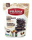 prana organic carazel - 62% chocolate bark caramelized hazelnuts & almonds - fairtrade vegan snack,