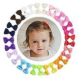 HABI 30 stk Haarschleifen mehrfarbig Haarclips Haarklammern Haarspange Haar Accessoire für Mädchen Baby aus Ripsband und Metall