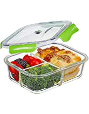 Premium Quality 3 Compartment Glass Lunch box/Food Storage Containers - Meal Prep Glass Containers - Reusable Microwave ,Oven, Freezer & Dishwasher Safe BPA Free Lunch box Containers with Smart For Snap Locking Tritan with Lids Guarantee 100% Airtight Leakproof (Green)