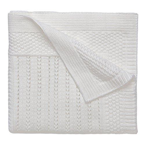 Elegant Baby 100% Cotton Seed Knit Blanket, Cream, 30\