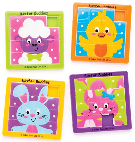 Baker Ross Easter Buddies Sliding Puzzles (Pack of 4) for Kids Easter Party Bag Fillers or Gift Ideas
