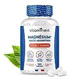 Magnésium Bisglycinate + Vitamine B6 + Taurine (Végane)   120 Gélules Végétales   Anti-Stress & Fatigue   Haute Teneur & Absorption, Supérieure au Marin   300 mg/Jour   Fabriqué en France   Vitaminext