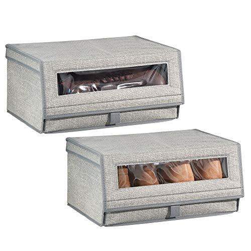 mDesign Juego de 2 cajas para zapatos de fibra sintética (grande) – Cajas apilables con ventana, cierre adhesivo y tapa abatible – Prácticas cajas organizadoras para armarios y estanterías – gris